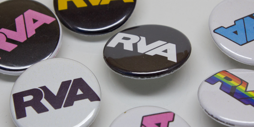 Picture of various RVA buttons in different colors